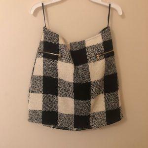 Plaid Black and White Skirt F21